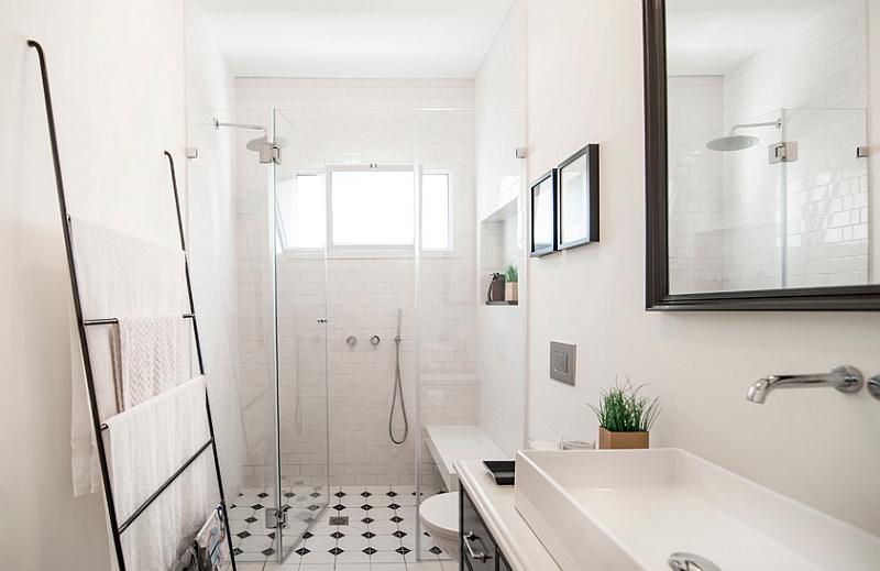 Ladder used as towel hanger in the bathroom