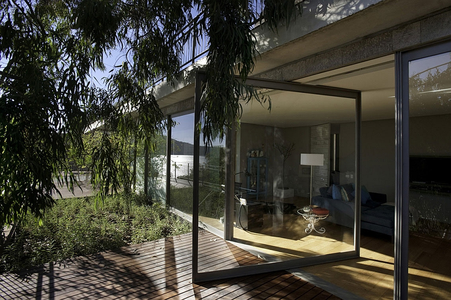 Large glass doors and walls of the Holiday House
