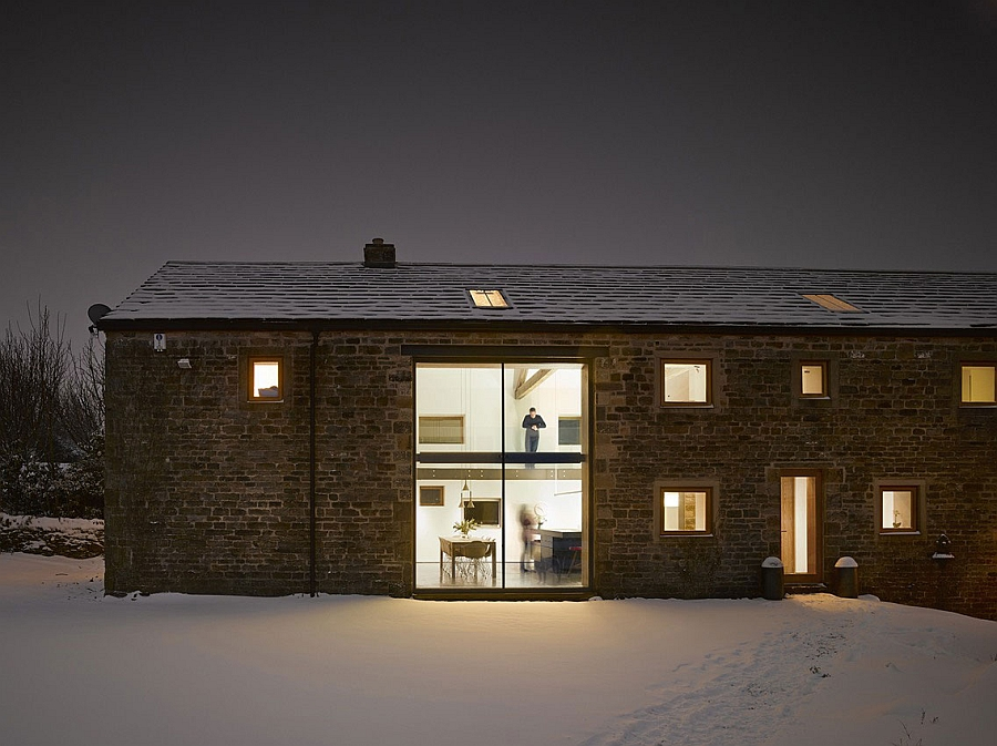 Large windows offer views of the rolling Yorkshire hills