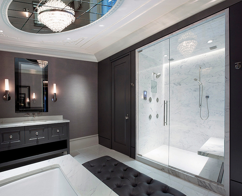 Lavish master bathroom in black, white and gray
