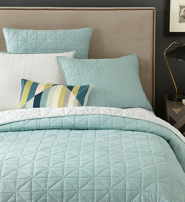 Light blue coverlet and shams The Power Of Pastels: Stylish New Finds In Soft Hues