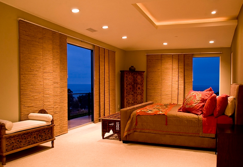 Lighting and window blinds for the Asian inspired bedroom