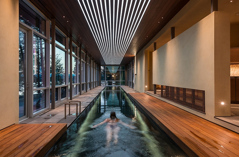 Lights in the wooden ceiling give the pool a better definition
