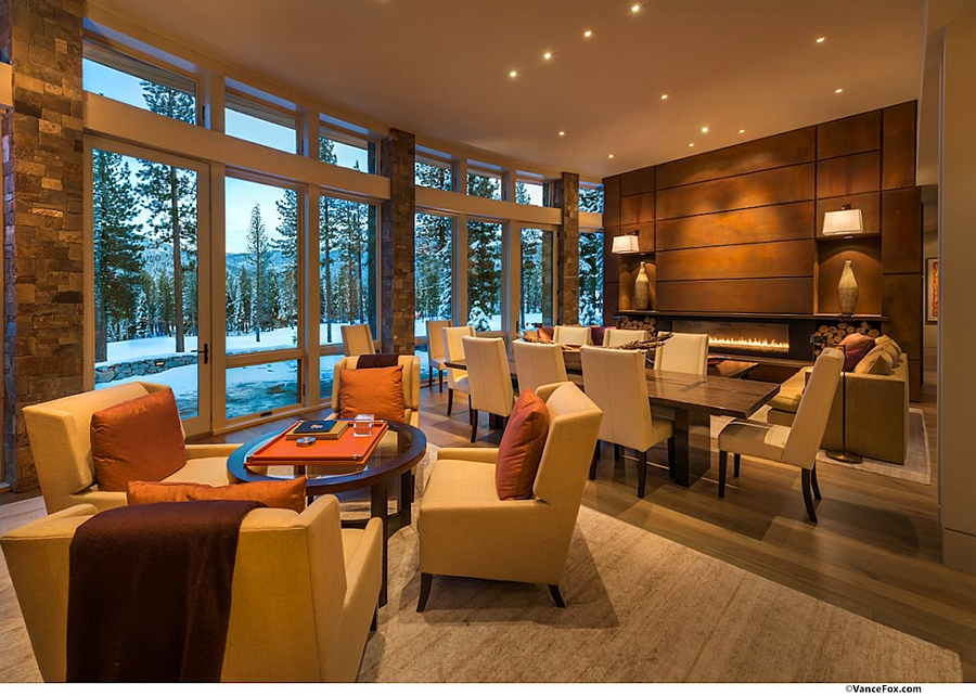 Living area exudes a war, cozy glow