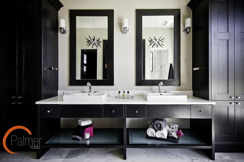 Lovely bathroom with cool black painted cabinets