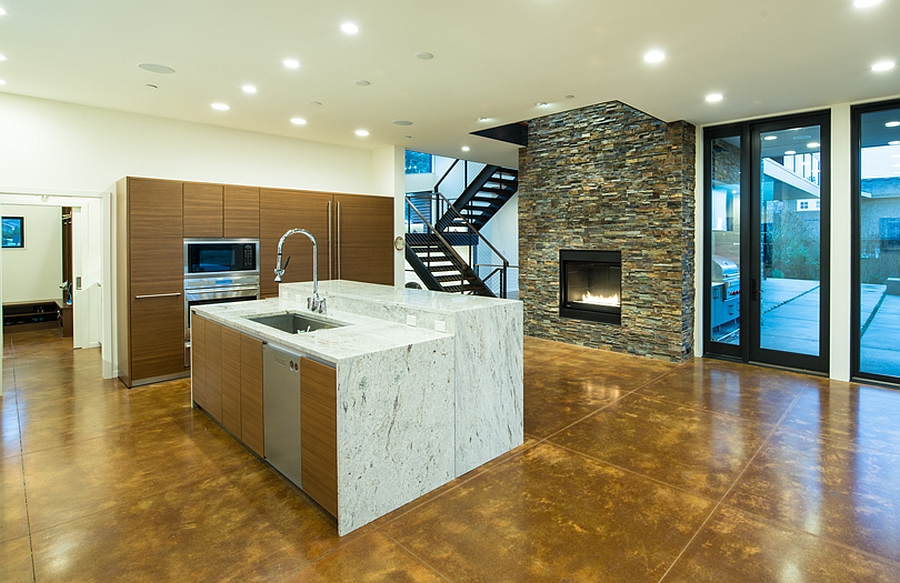 Lovely blend of stone and wood in the kitchen