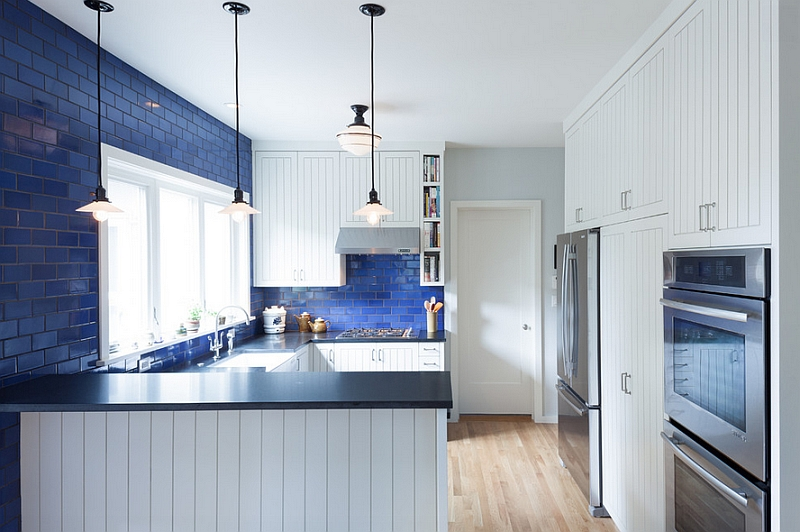 Lovely blue cobalt glass adds color to the kitchen