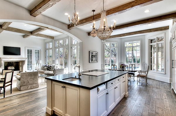 Lovely Chandeliers Light Up This Transitional Kitchen In Houston