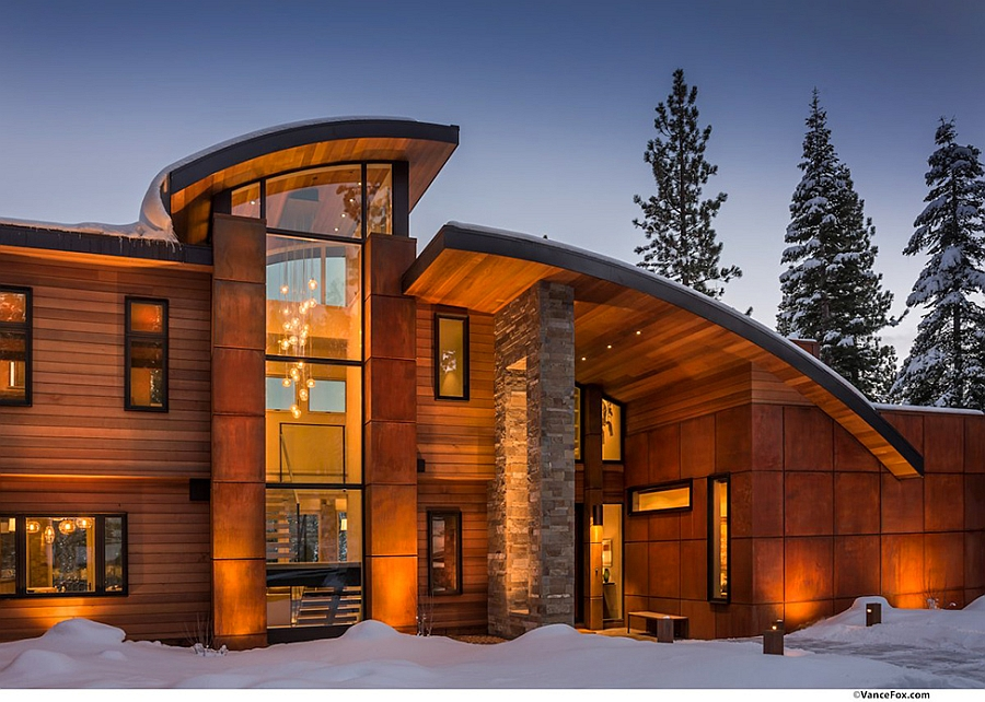 Lovely facade of the Martis Camp House Mountain Retreat Near Lake Tahoe Radiates Cozy Brilliance