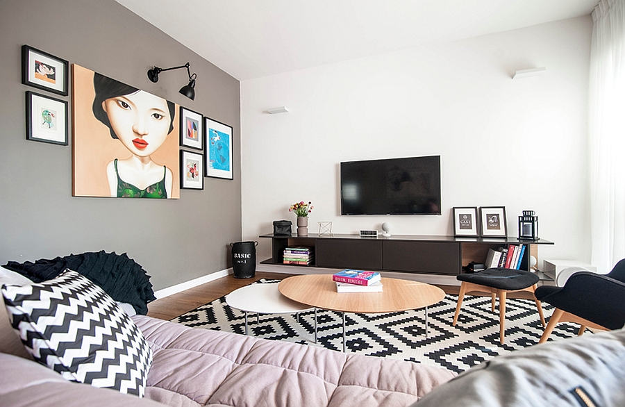 Lovely use of wall art and geometric patterns in the living room