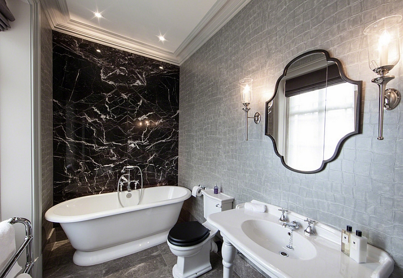 Luxe silver wallpaper in the black and white bathroom