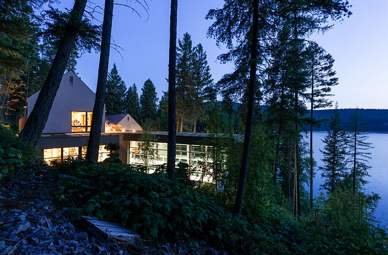 Luxurious pool house in Whitefish Montana Japanese Design Inspired Pool House And Spa Showcases Stunning Lake views