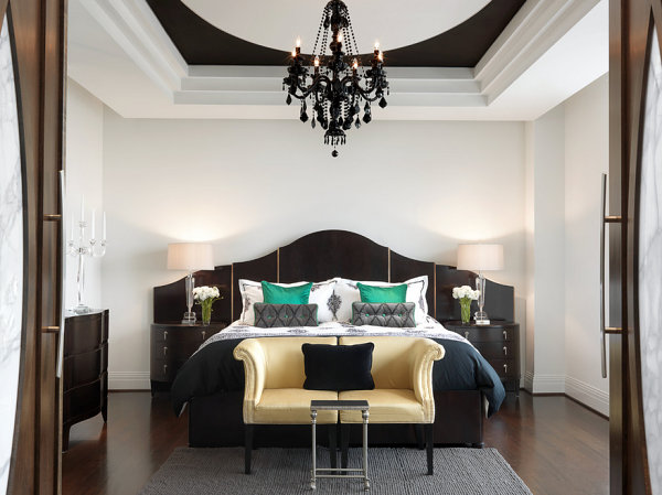 Luxury bedroom with black furniture
