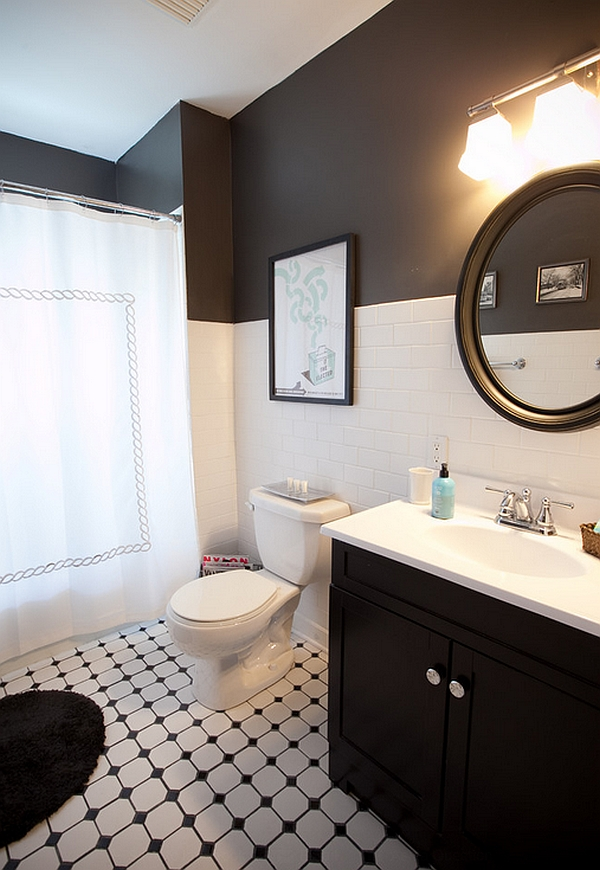 Black And White Bathrooms: Design Ideas, Decor And Accessories on black and white kitchen floor, black and white floor patterns, black and white bathrooms marble tile for floor, black and white bathroom flooring, black and white painted bathroom,