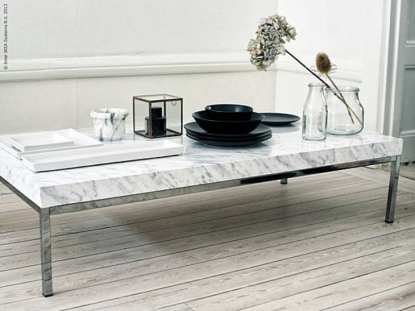 Marble contact paper coffee table DIY project