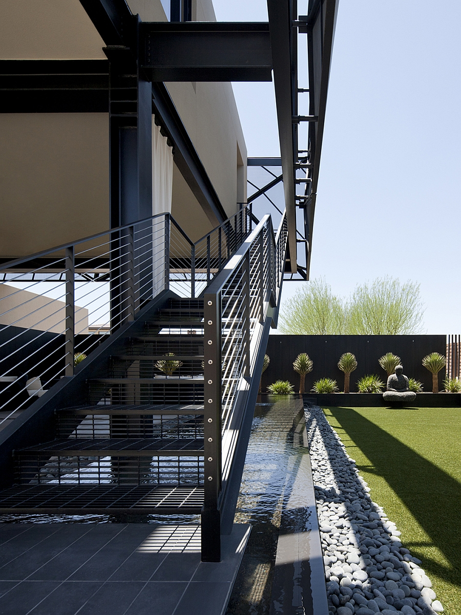 Metal staicase and zen garden in the Las Vegas Home