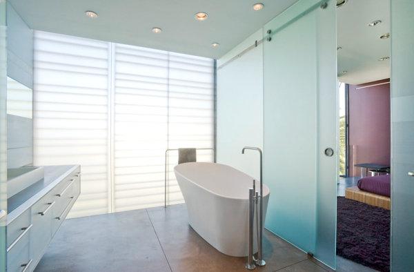 View In Gallery Metal Towel Rack In A Minimalist Bathroom