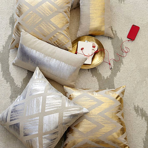 Metallic diamond pillow covers from West Elm Three Fabric Patterns That Are Making A Splash In 2014