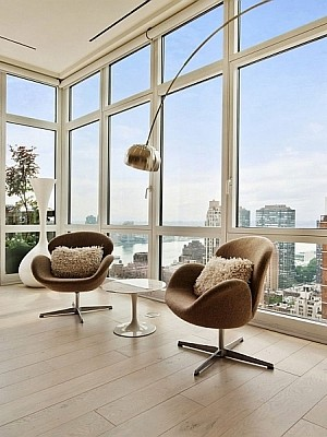 Mid-Century  Modern Decor inside New York City Penthouse Apartment