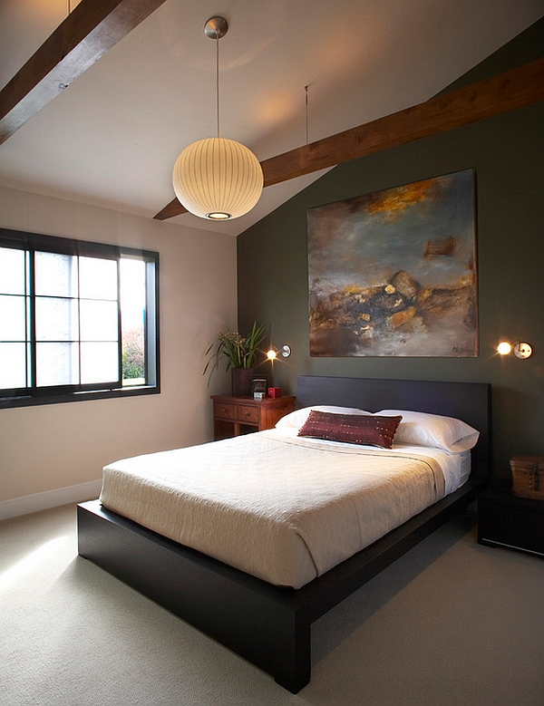 Miniature wall sconces combined with the Bubble Pendant in the bedroom