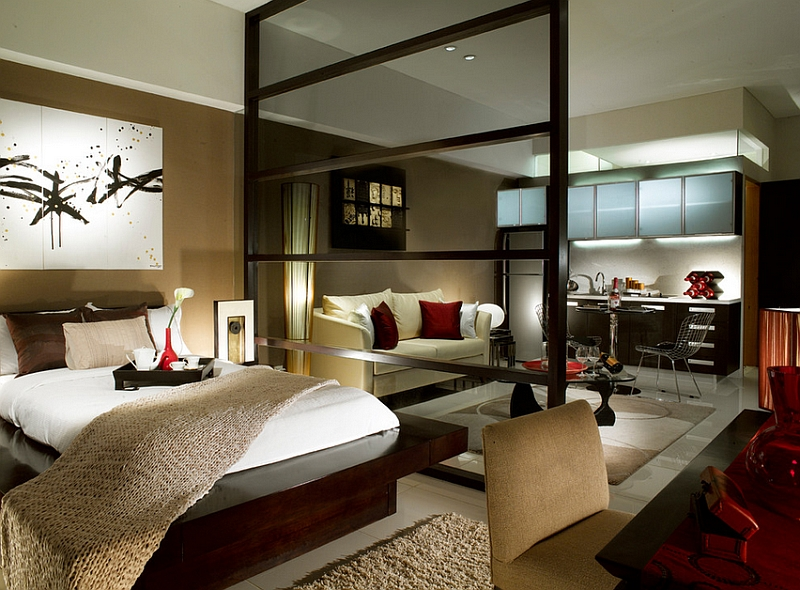 Modern asian style bedroom for a posh studio apartment