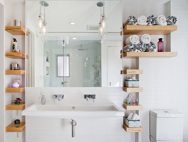 Modern bathroom with custom shelving