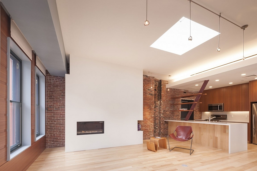 Modern fireplace complements the more aged backdrop