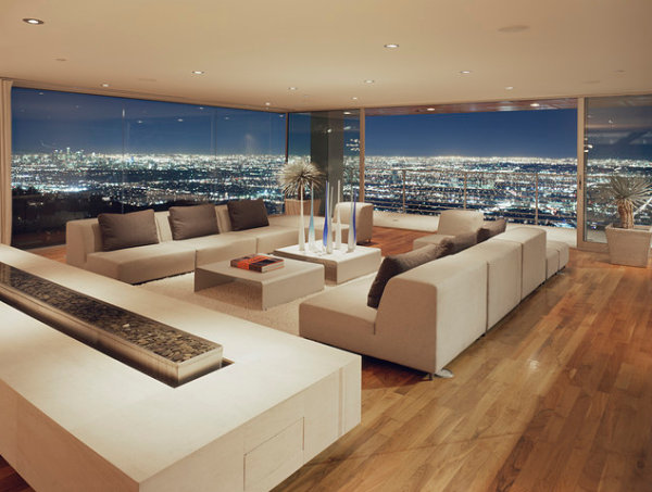 Modern living room with a city view