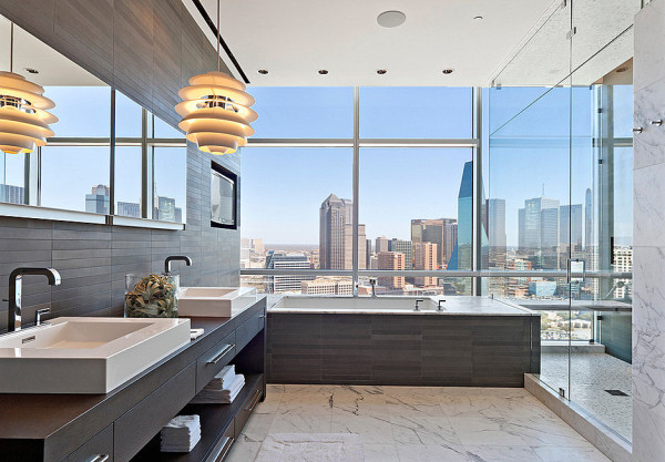 Modern luxurious details in a city bathroom