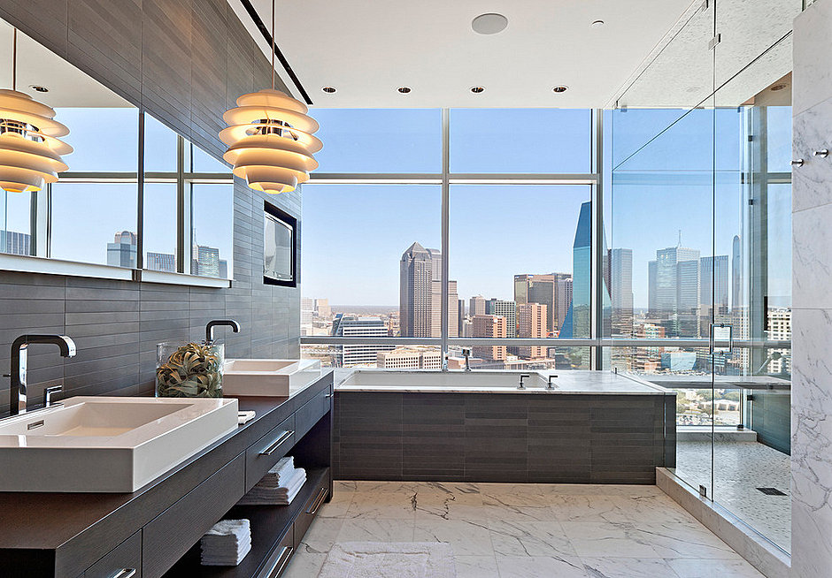 Modern luxurious details in a city bathroom