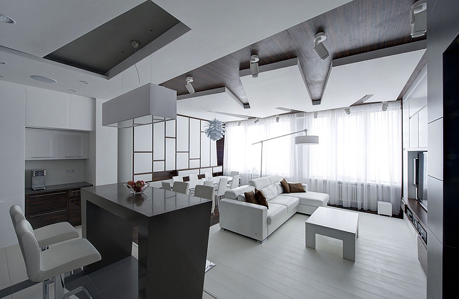 Remarkable apartment in moscow combines minimalism with for Minimalist apartment living room