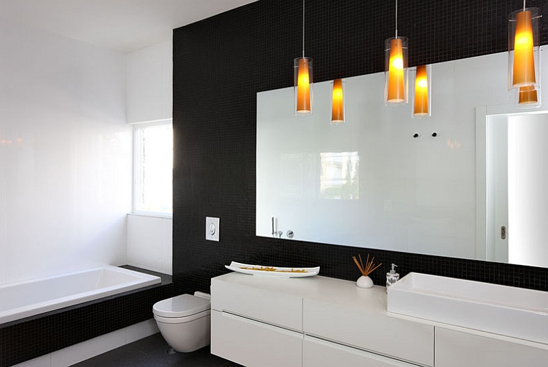 View In Gallery Modern Minimalist Bathroom In Black And White With Brilliant Lighting