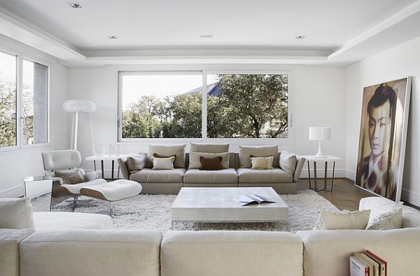 modern minimalist living room in pristine white - Modernist Living Room