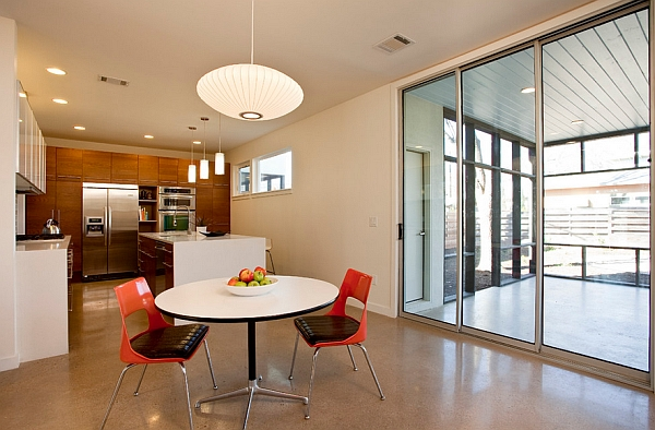 View in gallery Nelson pendant light above the small dining space