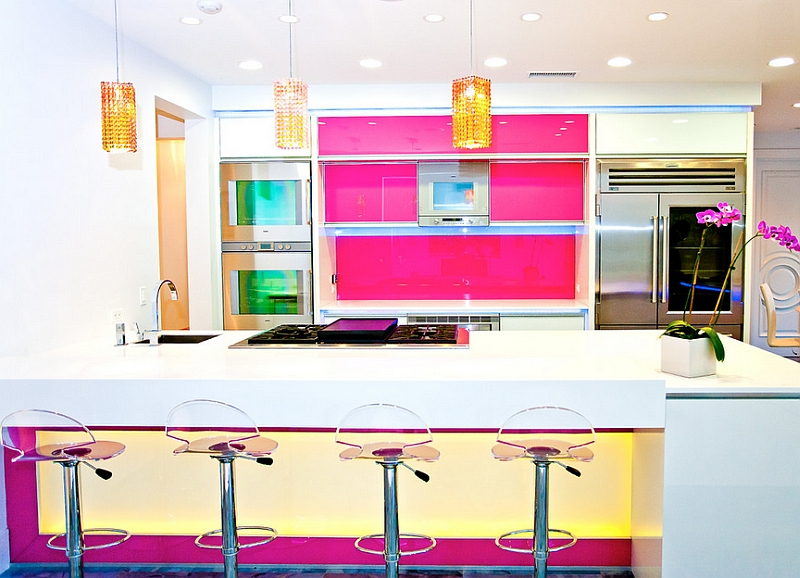 Neon brilliance of hot pinks shines through in this kitchen