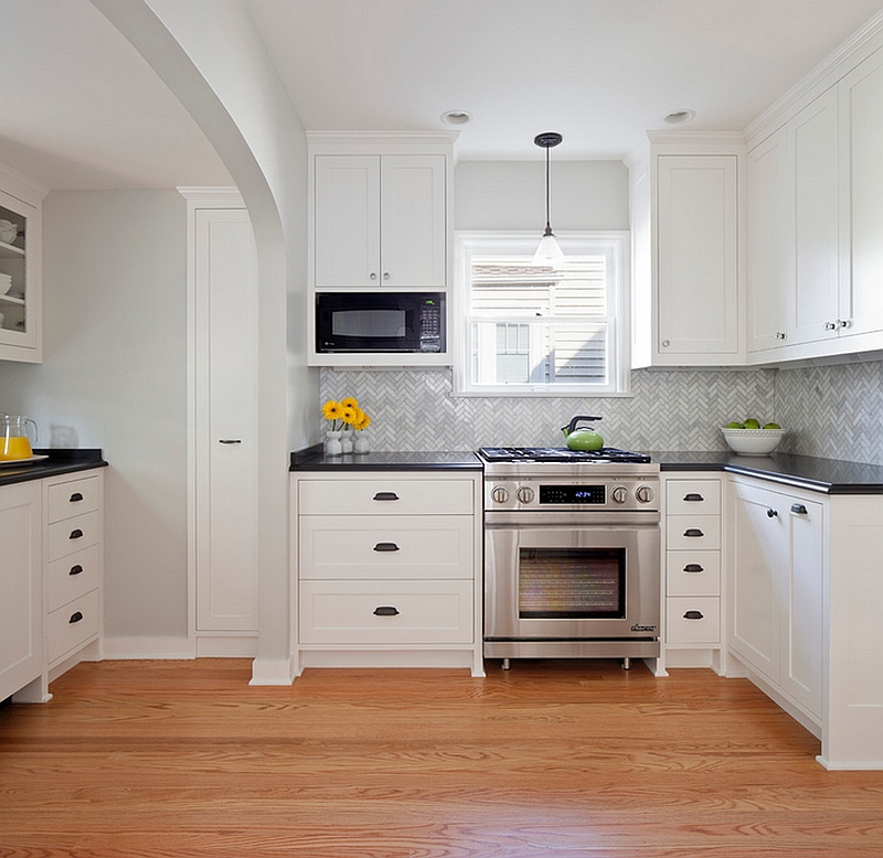Open Kitchenette with a chic backsplash