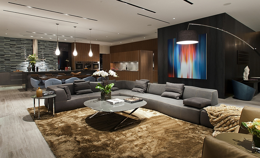 Open floor living area with smart lighting