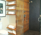Open shelving in a modern bathroom