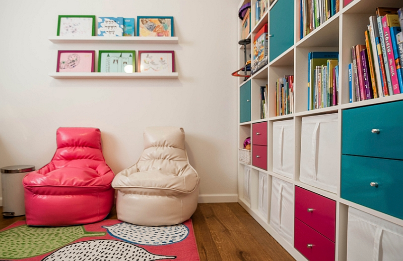 Organized and colorful cabinets in the kids' bedroom