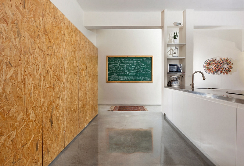 Oriented strand board wall in contemporary space