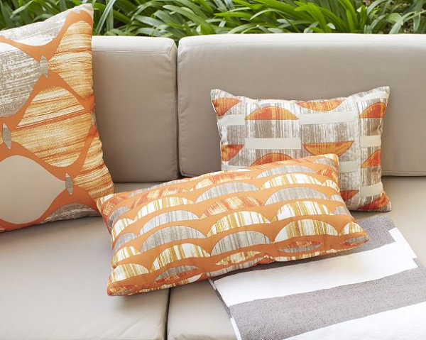 Outdoor pillows with the crescent pattern