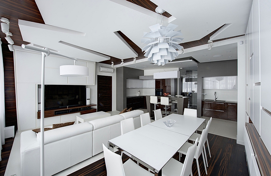 PH Light in white above the dining space
