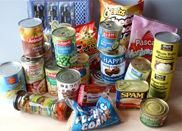 Packaged food pantry items