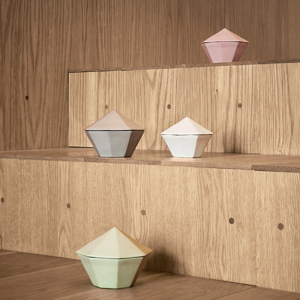 Pastel geometric containers