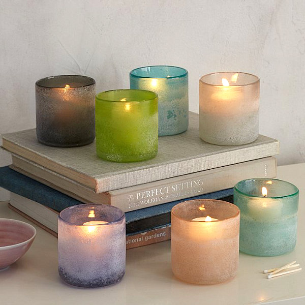 Pastel glass candleholders