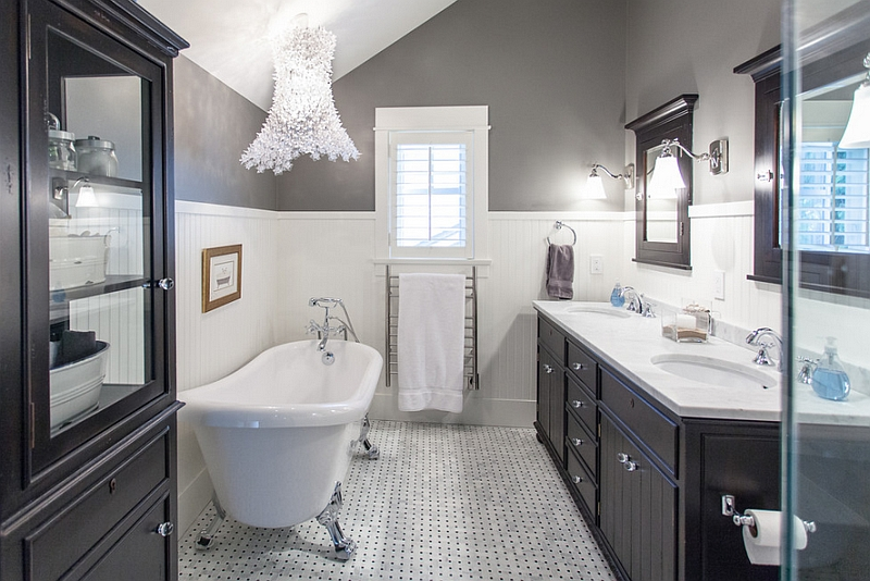 view in gallery pendant lamp steals the show here - Bathroom Tile Ideas Black And White