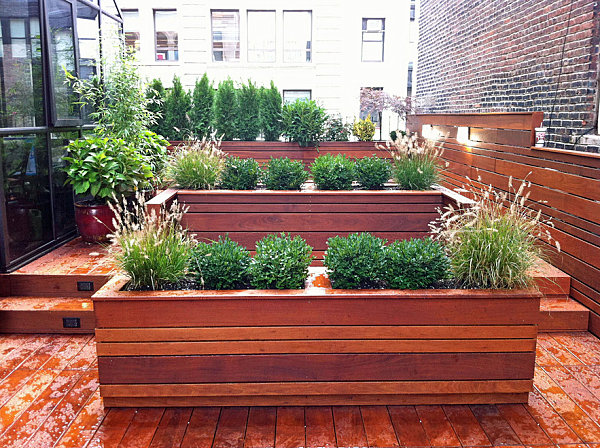 Planters filled with manicured greenery