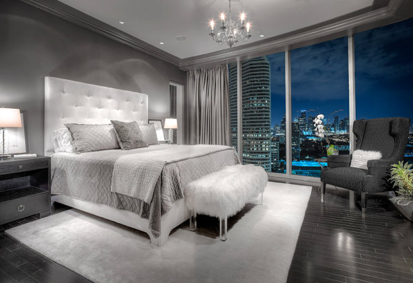Plush bedroom with a view