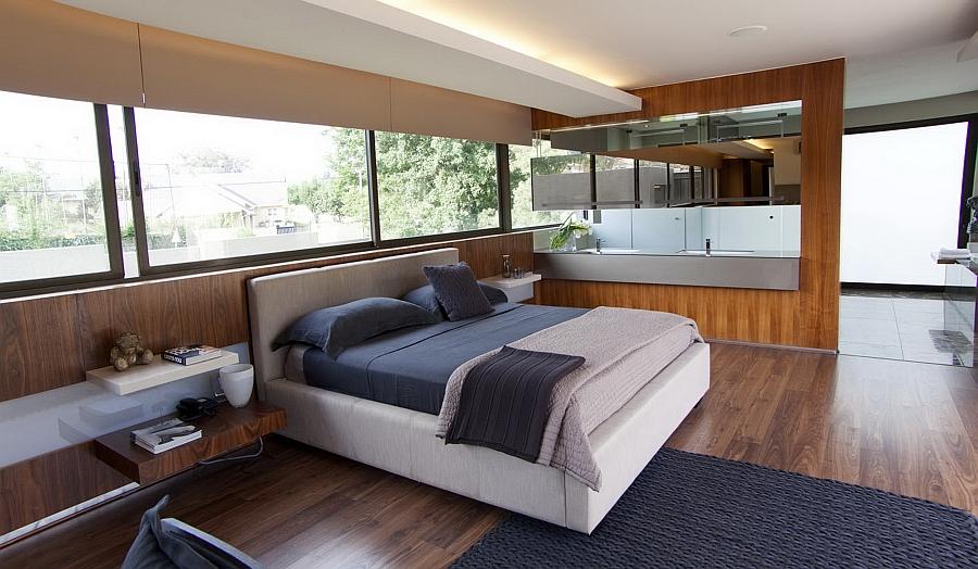 Plush bedroom with floating bedside shelves