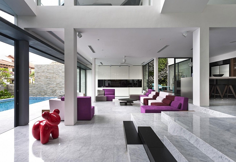 Plush purple accents in the living space